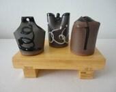 Vintage Japanese Set of 3 Earthenware Vases and a Bamboo 'Sushi' Tray / Japanese Ceramics / Handmade Vases / Japanese Art