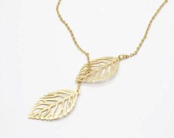 2 pcs of leave  adjustable necklace matte gold or  sivler