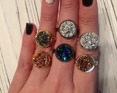 PICK 3 Druzy Adjustable Rings in Many Colors!