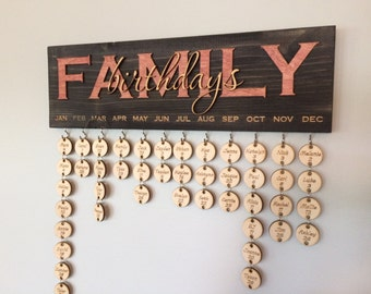 Customized Family Birthday Calendar