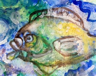 "Abstract Water Color Painting -  ""Fish"" -  Small Art - 7"" x 9"" - Blue Painting"