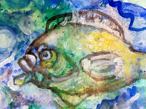 "Abstract Water Color Painting, ""Fish"", Small Art, 7"" x 9"", Blue Painting"