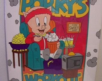 """PORKY PIG Workout 1992 Vintage Poster 22""""x 28"""" New in shrinkwrap"""