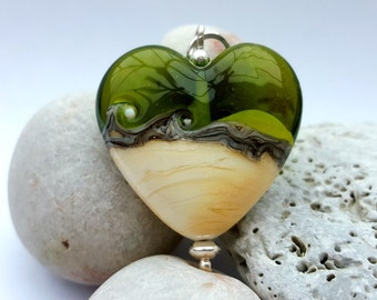 Olive Green & Ivory Heart Pendant, Lampwork glass bead, Necklace, Jewellery, Jewelry