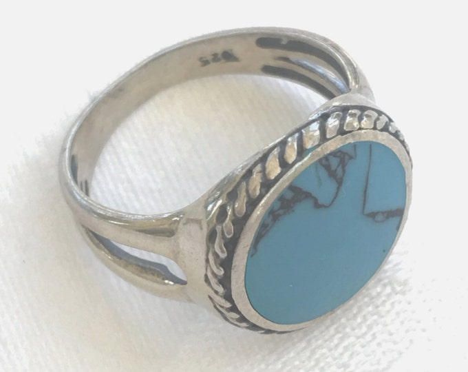Sterling Silver Turquoise Ring Vintage Southwest Style Size 8