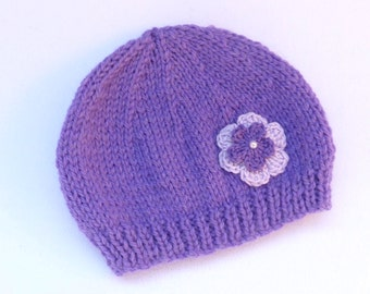 Purple new born baby beanie hat 0-3 months