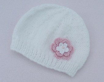 Baby girl hand knitted white baby beanie hat to fit 0 to 3 months