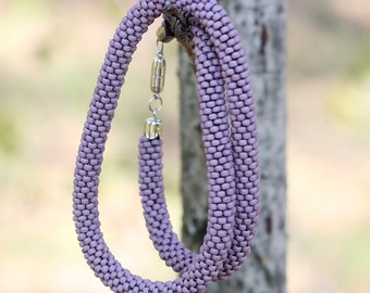 Necklace Beaded - bead crochet rope, beadwork, beading, lilac, pink