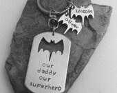 Hand Stamped Batman Keychain
