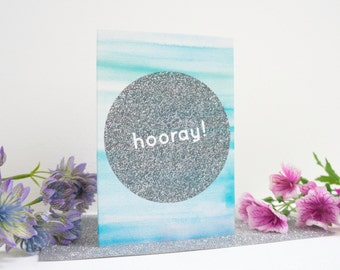 Hooray Watercolour + Glitter Graphic Greetings Card