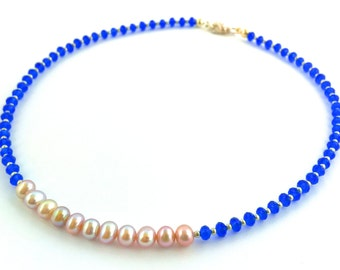 Freshwater and crystal pearl necklace