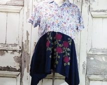 Rose Vine Tunic Top in Plus Size Upcycled Clothing Eco Fashion Junk Gypsy Style