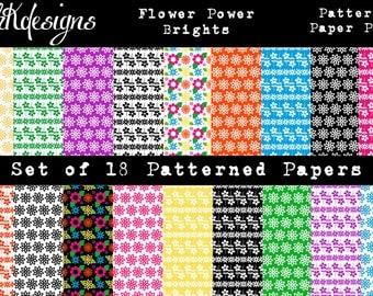 Flower Power Brights Digital Paper Pack