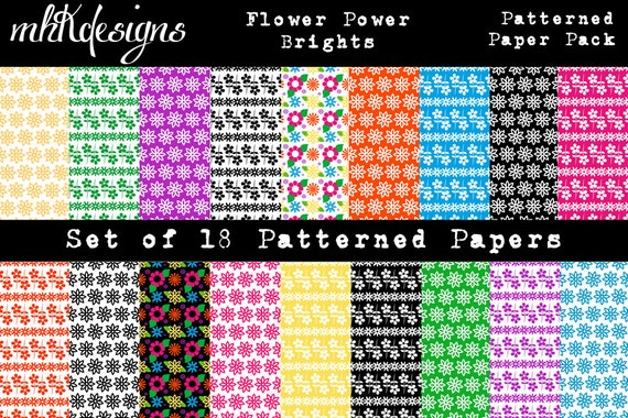 Flower Power Brights Digital Paper Pack