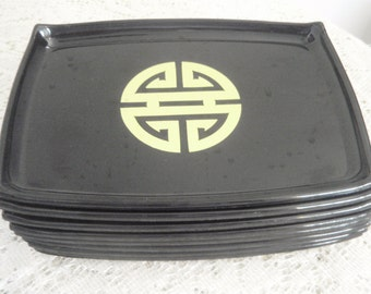 """Set of Snack Trays, Clearance hors d'oeuvre trays, Asian snack trays, 8 black Plastic snack trays, 7"""" x 4 1/2""""party trays,kid's snack trays."""