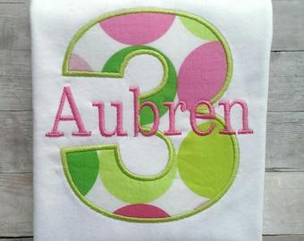 Personalized Pink and Green Polka Dots Girls Third Birthday Shirt / Girls Birthday Shirt