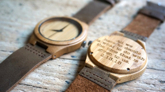 Bamboo wood watch personalized engraved with
