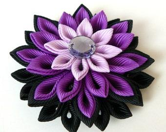 Kanzashi  fabric flower brooch . Purple flower brooch. Purple kanzashi brooch. Handmade purple flower brooch.