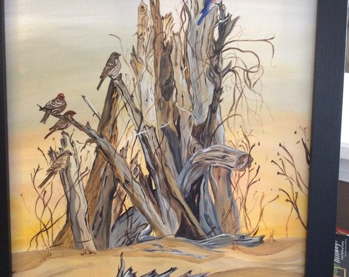 Birds at the Beach - 16 x 20 acrylic painting
