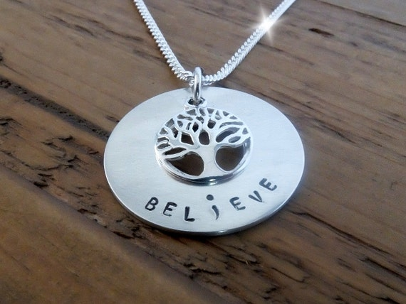 Tree of Life Semicolon Necklace, Believe Semicolon Necklace, Survivor Semicolon Necklace, Warrior Semicolon Necklace, Silver Semicolon