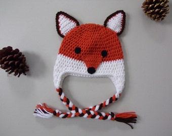 FOX Hat - Crochet Fox Hat - Woodland Animal Hat - Photo Prop - Animal Hat - Hats for Kids - Baby Fox Hat