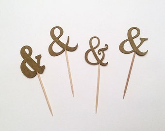 "Ampersand (""and"" sign) Cupcake Toppers - Set of 12"