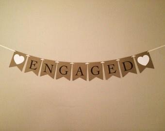 Engaged Large Engagement Banner - Rustic Vintage Photo Prop Banner
