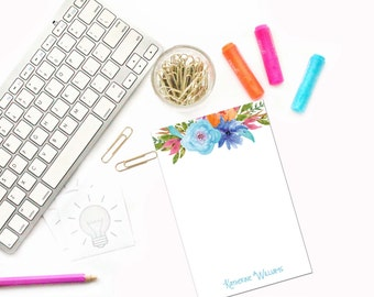 Personalized Notepad / Watercolor Flowers Personalized Stationery Notepad / Custom Floral Stationary Notepad