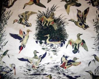 Large silk satin vintage scarf, ducks print, baroque border