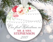 Our First Christmas as Mr & Mrs Christmas Gift Hanging lights and Floral Personalized Christmas Ornament Bridal Shower Gift OR378