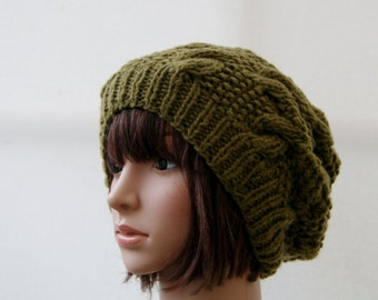 Chunky knit cable beanie in Moss/Khaki Slouchy Beanie/Knitted hat/Beanie hat READY TO SHIP