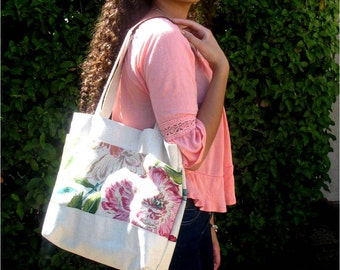 Tote Bag with Pink Floral Outside Pockets