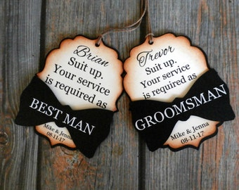 Suit up. Your service is required as Groomsman | Best Man | Usher | Officiant | Groomsmen Proposal | Bow Tie Favor Tag | Gift Tag