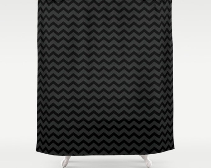 Black and Gray Chevron Shower Curtain - Small Chevron Print - Bathroom Decor - Made to Order