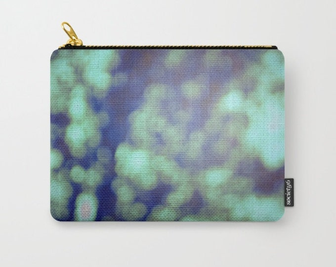 Green Carry All Pouch - Bokeh Photography -  Make-up Bag- Pouch- Toiletry Bag - Change Purse - Organizing Bag - Made to Order