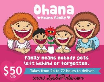 "Customizable Digital Illustration Cute Kawaii style ""Ohana"""