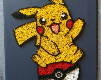Pikachu Pokemon in Pokeball String Art