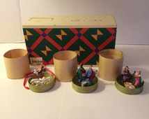 3 Christmas Nativity Sets in TINY Round Wooden Boxes from Neiman Marcus