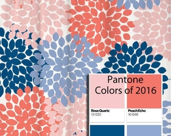 Shower Curtain In Navy Coral Pink Aqua Gray By