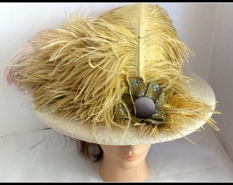 Vintage Ostrich Feather Hand Made Hat