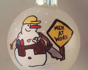 Construction Worker Ornament - Personalized Ornament -  Custom Ornament - Road Worker Ornament - Men At Work Ornament