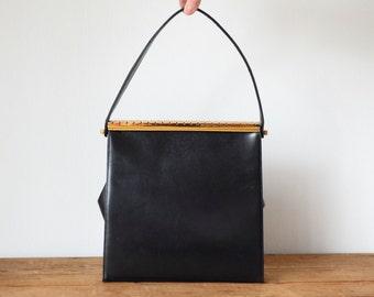 Vintage COBLENTZ Black Leather Mid-Century Pocketbook Handbag with Gold Clasp/ 1950s 1960s Coblentz Original Purse