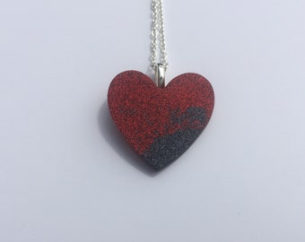 Red and Grey Glitter Resin Heart Pendant