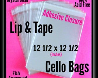 100 ( 12 1/2 x 12 1/2 in ) Lip & Tape Cello Bags .. Adhesive / Selfsealing