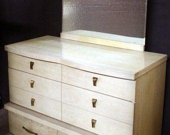 Vintage Bassett Art Deco Blonde Mahogany Wood Wooden Dresser Chest Vanity Mirror