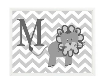 Lion Nursery, Wall Art, Personalized Print, Letter Art, Gray White Decor, Chevron Print, Neutral Nursery, Safari Nursery, Baby Art, Inital