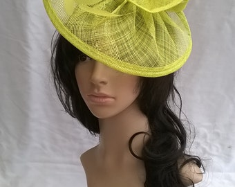 Yellow Fascinator ..Sinamay and  feather Fascinator...Gemma