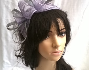 Lavender & silver Fascinator...Stunning Sinamay and   Rosette Fascinator..on headband