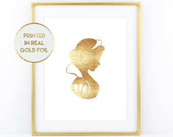 Gold Foil Snow White Print - Child Nursery Bedroom Decor Paper in Foil Print in Real Metallic Foil