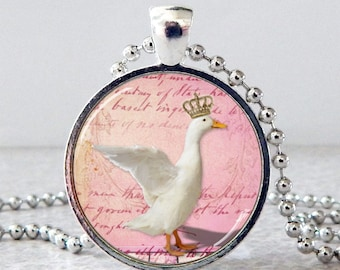 Goose Pendant, Goose Necklace, Goose Jewelry, Goose with Crown, Glass Art Pendant